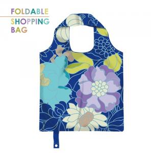 PM004-Dark Blue Flowers - Customized Polyester Foldable Grocery Shopping Bag, Lightweight Portable Foldable Tote Bag