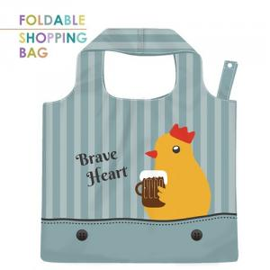PL011-Brave Chick - Polyester Cute Animal Foldable Shopping Bag, Washable, Lightweight, Durable, Large Capacity Grocery Tote Bag.